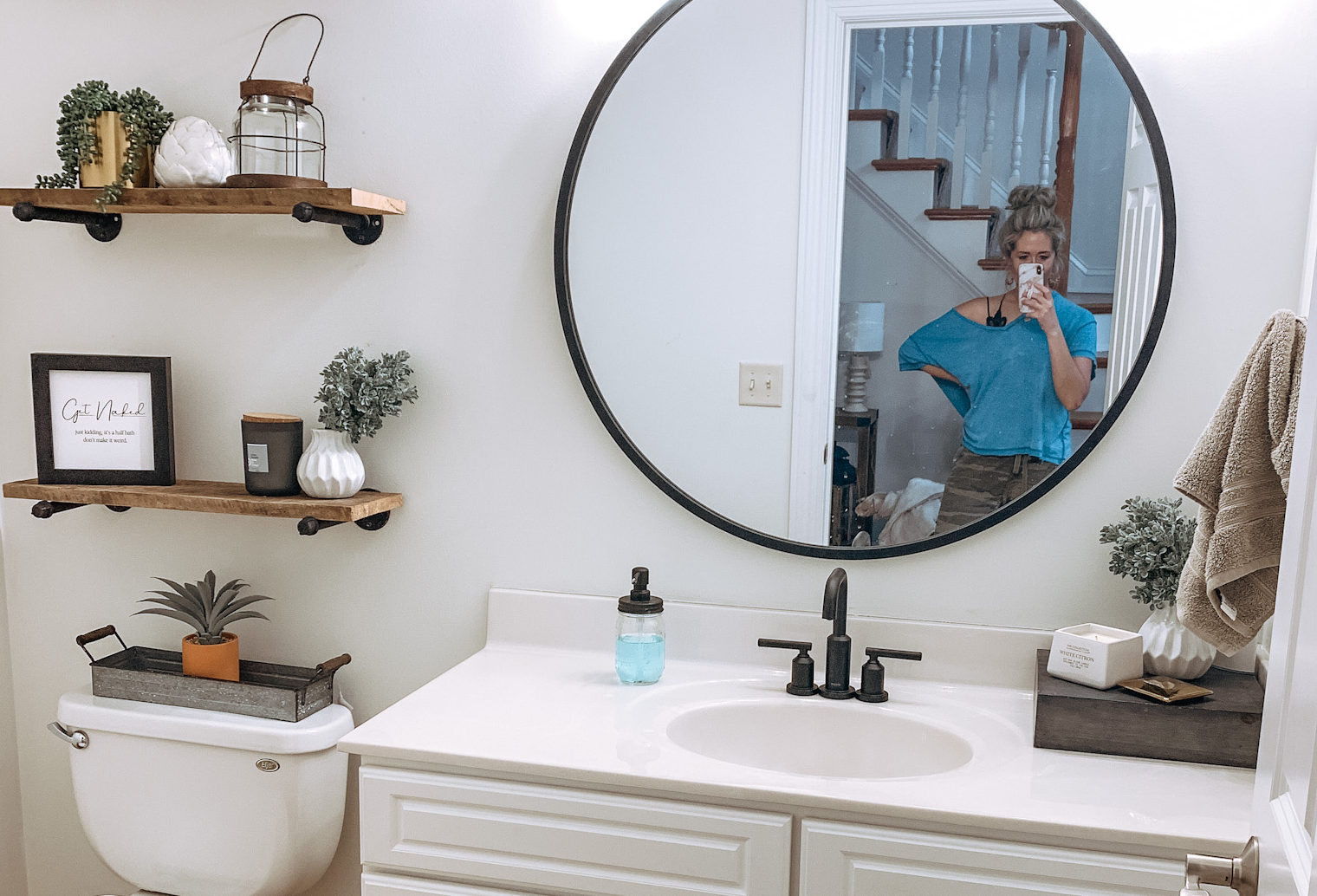 Modern Farmhouse Powder Room Update Fueling Mamahood
